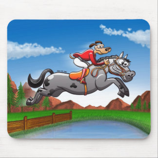 Equestrian Jumping Dog Mouse Pad