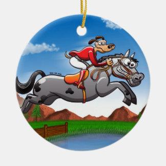 Equestrian Jumping Dog Christmas Tree Ornament