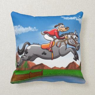 Equestrian Jumping Dog Throw Pillows