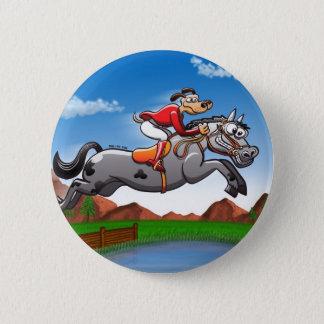 Equestrian Jumping Dog Pinback Button