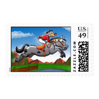 Equestrian Jumping Dog Postage