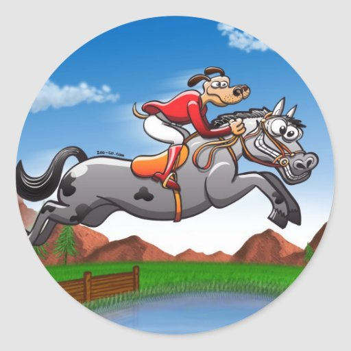 Equestrian Jumping Dog Round Stickers