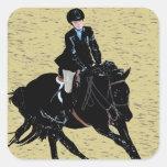 Equestrian lindo de la demostración del caballo colcomanias cuadradas