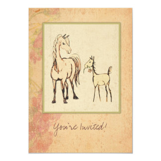 Equestrian Mare and Foal Baby Shower Invitation
