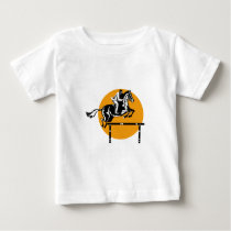 Equestrian on Horse Show Jumping Retro Baby T-Shirt