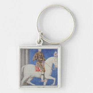 Equestrian Portrait Dauphin Henri II Silver-Colored Square Keychain