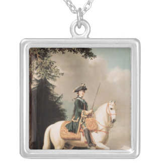 Equestrian Portrait of Catherine II Silver Plated Necklace