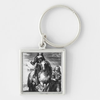 Equestrian portrait of Charles I Silver-Colored Square Keychain