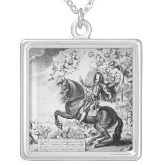 Equestrian Portrait of Charles II  with Gods Silver Plated Necklace