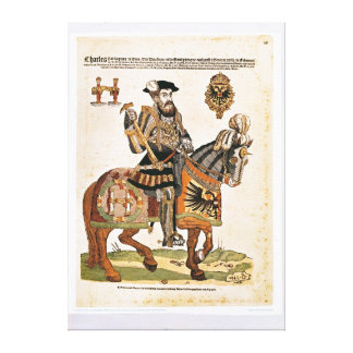 Equestrian portrait of Charles V in armour Canvas Print