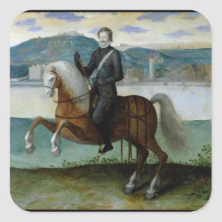 Equestrian Portrait of Henri IV  King of Square Sticker