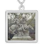 Equestrian Portrait of Louis XIV 2 Square Pendant Necklace