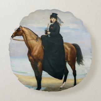 Equestrian Portrait of Mademoiselle Croizette Round Pillow