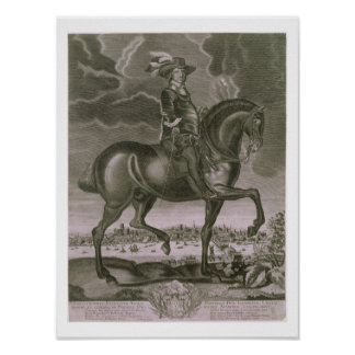 Equestrian Portrait of Oliver Cromwell (1599-1658) Poster