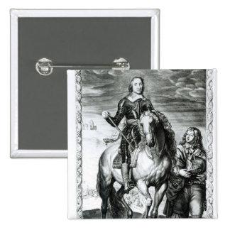 Equestrian portrait of Oliver Cromwell 2 Inch Square Button