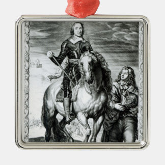 Equestrian portrait of Oliver Cromwell Square Metal Christmas Ornament