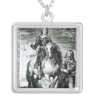 Equestrian portrait of Oliver Cromwell Silver Plated Necklace