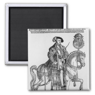 Equestrian Portrait of Philip II  of Spain 2 Inch Square Magnet