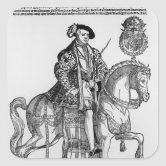 Equestrian Portrait of Philip II  of Spain Square Sticker