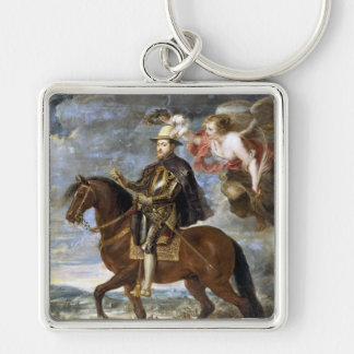 Equestrian Portrait of Philip II Peter Paul Rubens Silver-Colored Square Keychain