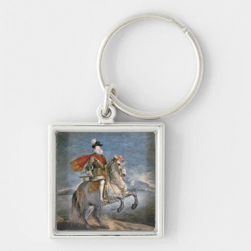 Equestrian Portrait of Philip III  c.1628-35 Silver-Colored Square Keychain