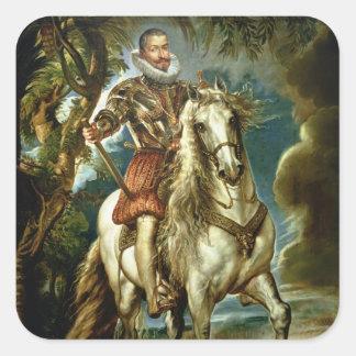 Equestrian portrait of the Duke of Lerma  1603 Square Sticker