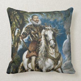 Equestrian Portrait of the Duke of Lerma Rubens Throw Pillows