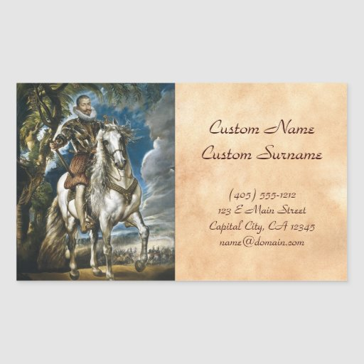 Equestrian Portrait of the Duke of Lerma Rubens Rectangular Sticker