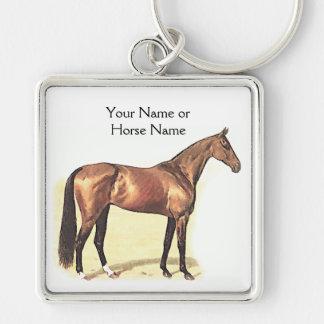 Equestrian que monta de la foto del caballo del pu llavero cuadrado plateado