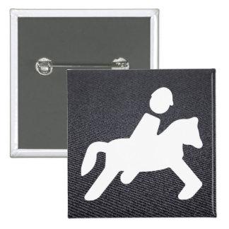 Equestrian Riders Pictograph 2 Inch Square Button