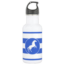 Equestrian; Royal Blue Stripes Stainless Steel Water Bottle