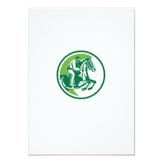 Equestrian Show Jumping Side Circle Retro Personalized Invitations