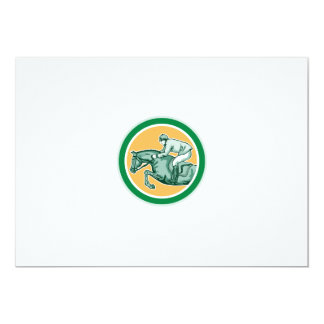 Equestrian Show Jumping Side Circle Retro Personalised Invites