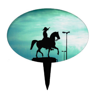 Equestrian Silhouette With Old World Warrior Statu Cake Topper