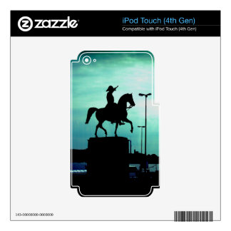 Equestrian Silhouette With Old World Warrior Statu iPod Touch 4G Skins