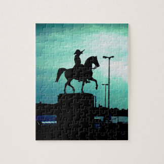 Equestrian Silhouette With Old World Warrior Statu Jigsaw Puzzle