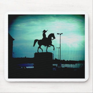 Equestrian Silhouette With Old World Warrior Statu Mouse Pad