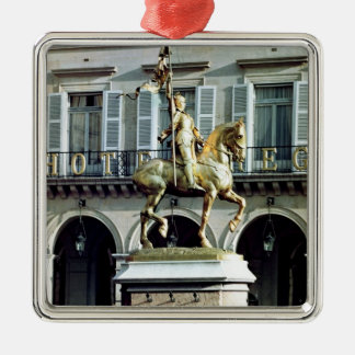 Equestrian statue of Joan of Arc Square Metal Christmas Ornament