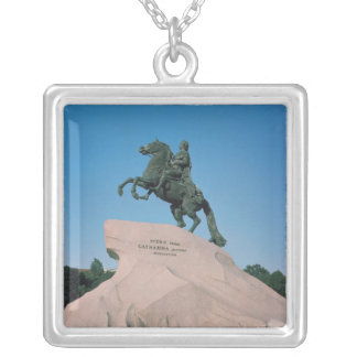 Equestrian statue of Peter I  the Great, 1782 Silver Plated Necklace