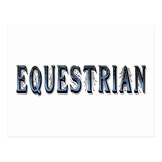 Equestrian (texto azul y negro) tarjeta postal