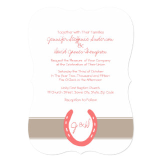 Equestrian Themed Horse Shoes Pattern 5x7 Paper Invitation Card