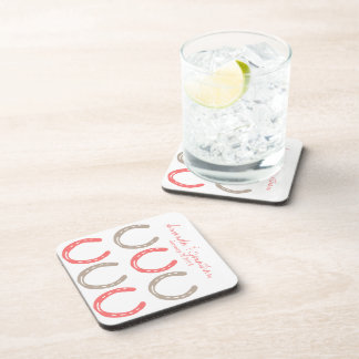 Equestrian Themed Horse Shoes Pattern Beverage Coaster
