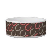 Equestrian Themed Horse Shoes Pattern Bowl