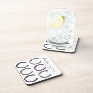 Equestrian Themed Horse Shoes Pattern Drink Coasters