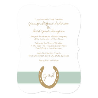 Equestrian Themed Horse Shoes Pattern Personalized Invitation