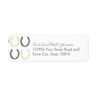 Equestrian Themed Horse Shoes Pattern Label