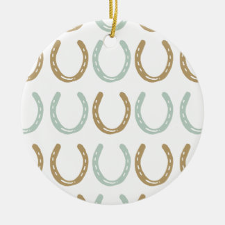 Equestrian Themed Horse Shoes Pattern Christmas Tree Ornament