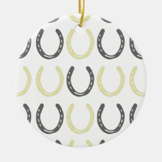 Equestrian Themed Horse Shoes Pattern Christmas Ornament