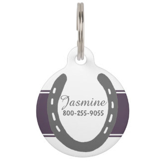 Equestrian Themed Horse Shoes Pattern Pet Tag