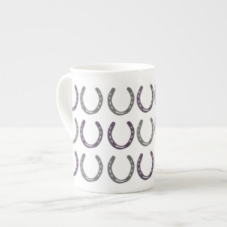 Equestrian Themed Horse Shoes Pattern Porcelain Mugs